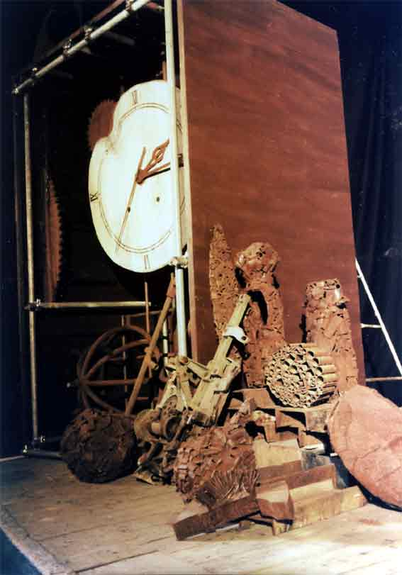 Giant clock created on stage